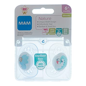 Amazon.com: Mam Nature Soother Twin Pack 19.7 ft + Hippo ...
