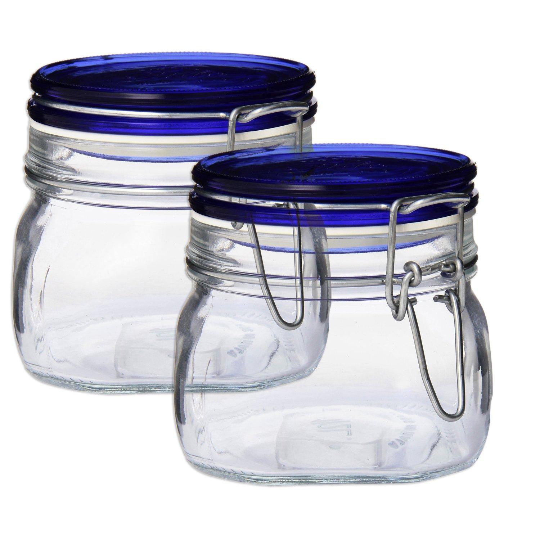 Bormioli Rocco Set OF 2 Bormioli Rocco Fido Square Jars With Blue Bail And Trigger Lids, 17-1/2-ounc