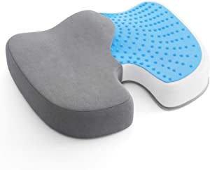 AMERIERGO Seat Cushion, Comfortable Gel-Enhanced Seat Pillow for Office Chair, Car Seat, Non-Slip Desk Chair Cushion with Memory Foam for Sciatica, Coccyx, Tailbone Pain & Back Pain Relief (Grey)