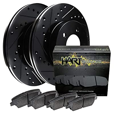 For 2012-2020 Ford F-150 Rear Black Hart Brake Rotors Kit+Ceramic Pads: Automotive