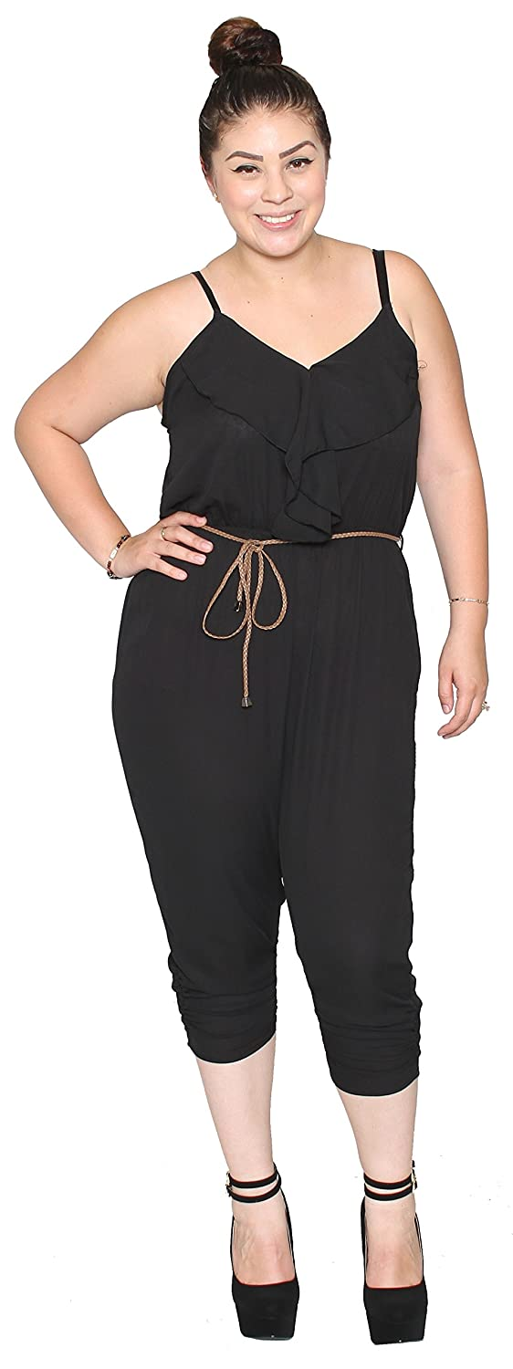 Libian Jr Plus Size Summer Chiffon Spaghetti Strapped Jumpsuit with Belt