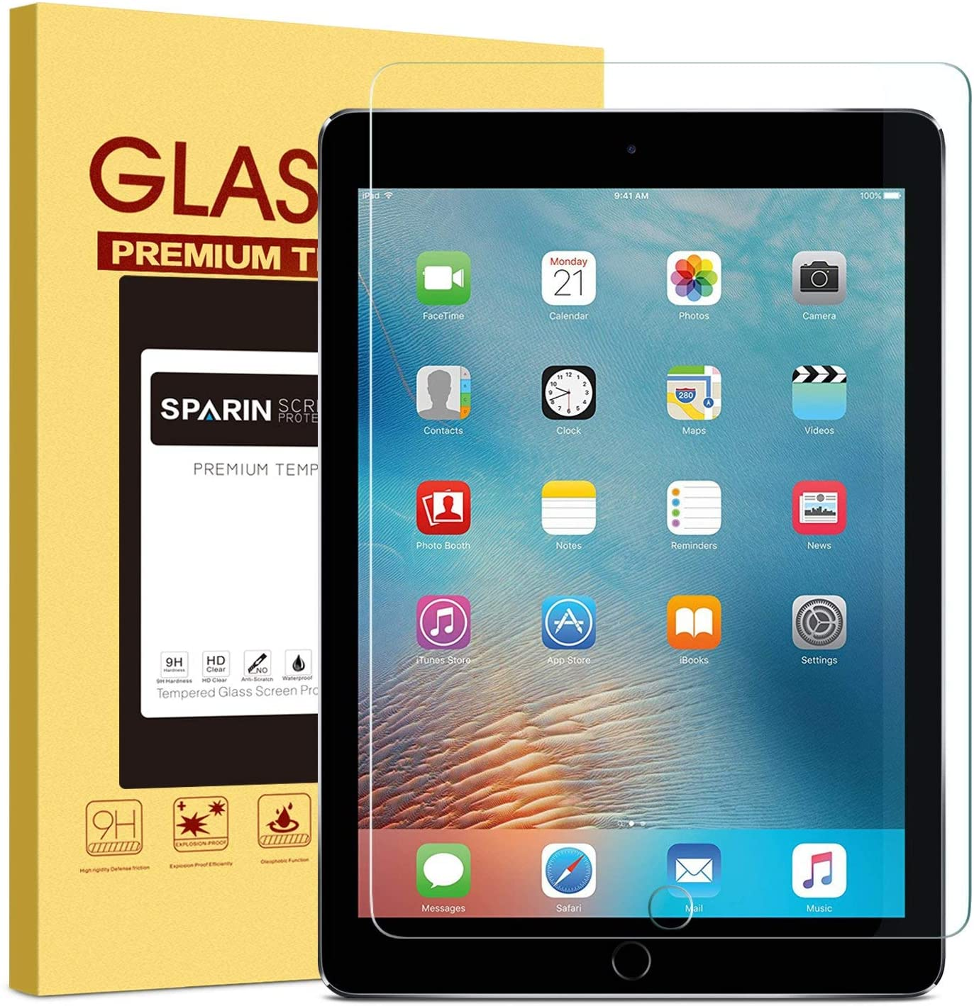 """New iPad 9.7"""" (2018 & 2017) / iPad Pro 9.7 / iPad Air 2 / iPad Air Screen Protector, SPARIN Tempered Glass Screen Protector - Apple Pencil Compatible / High Definition / Scratch Resistant: Computers & Accessories"""