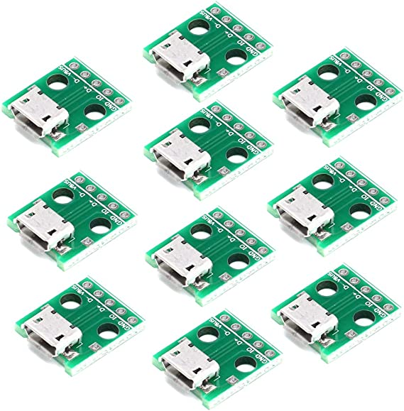 10pcs Micro USB to DIP Adapter 5pin Female Connector Module Board Panel L/&6