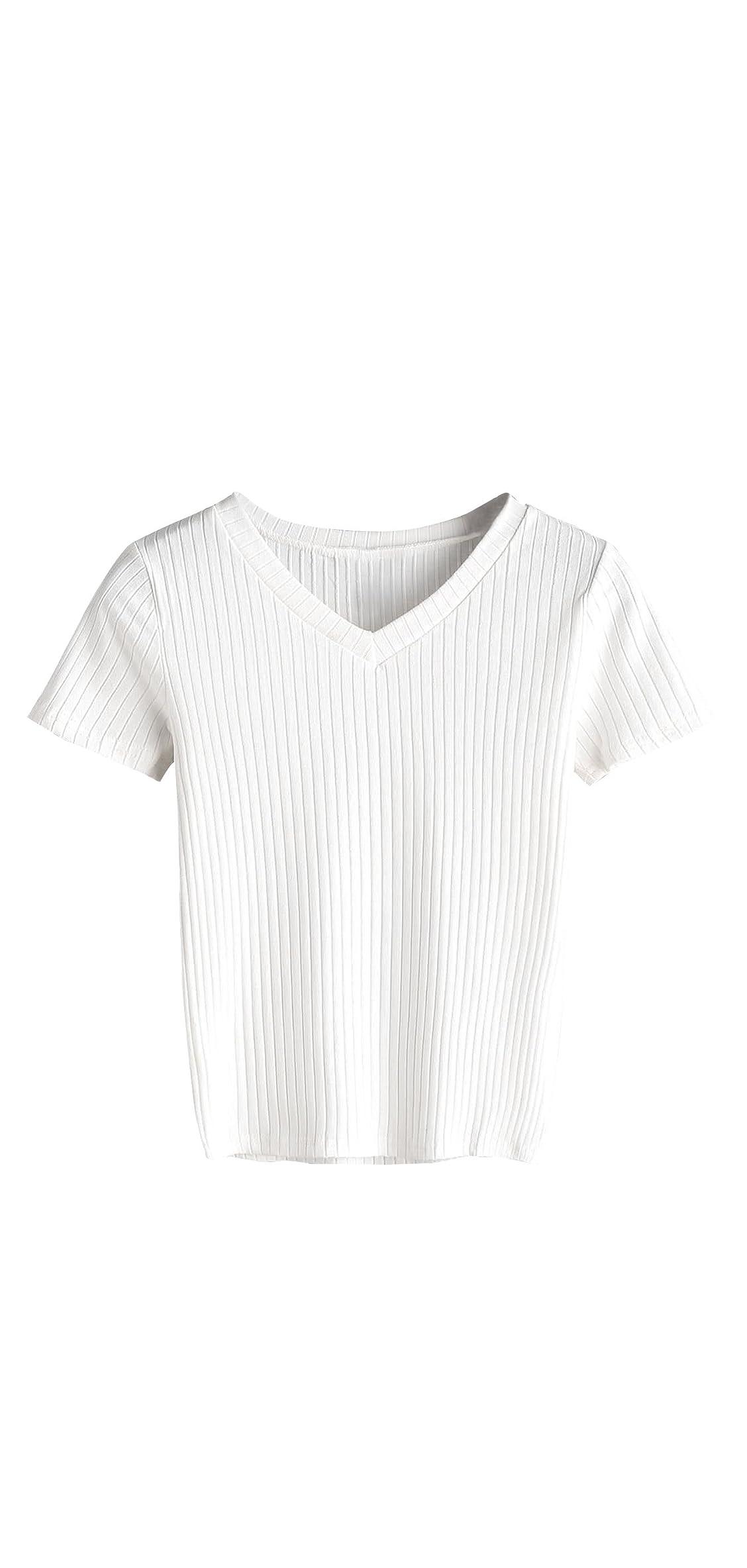 Women's Basic Short Sleeve V Neck Ribbed Knit Crop