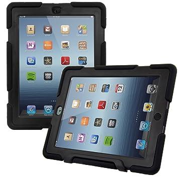 kwmobile Funda protectora híbrida para Apple iPad 2 / 3 / 4 - Carcasa dual para tablet de goma y plástico en negro