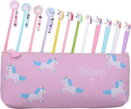 Tagaremuser - Juego de 13 bolígrafos de tinta de gel con diseño de unicornio, incluye 1 estuche y 12 bolígrafos de unicornio: Amazon.es: Oficina y papelería