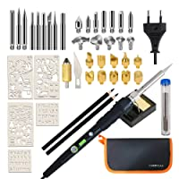 45Pcs Wood Burning Pyrography Pen Kit & Soldering Iron Kit with LED Indicator, Power Switch, Temperature Adjustable, Burning Tool with Stencils, Stand with Sponge, Pencils and Storage Bag (EU Plug)