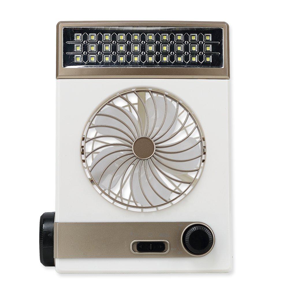 Alomejor Mini Desktop Fan, Multi-Function Solar Power Portable Desktop Fan Lamp Flashlight US Plug