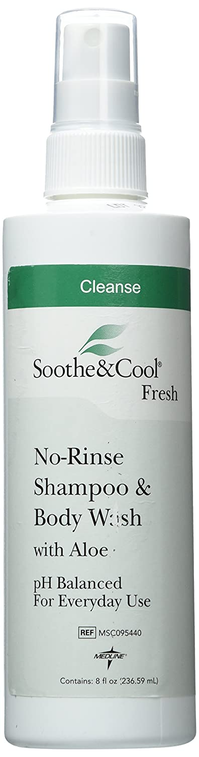 Medline Soothe and Cool No Rinse Shampoo and Body Wash, 8 Fluid Ounce, 12 Count