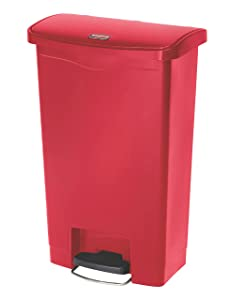 Rubbermaid Commercial Products Slim Jim Step-On Plastic Trash/Garbage Cans, 13 Gallon, Plastic Front Step Step-On, Red