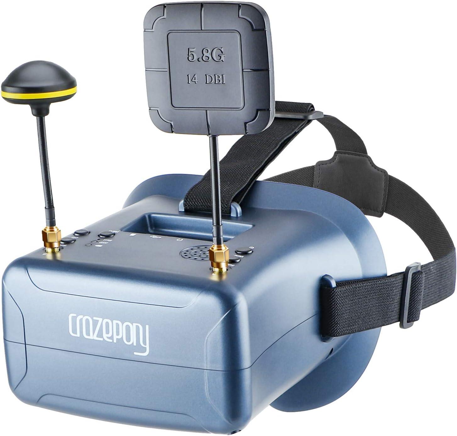 Crazepony-UK FPV Gafas Crazepony VR008 Pro FPV Gafas con DVR 4.3 Pulgadas 5.8G 40CH batería de la Diversidad y Funda de Transporte para RC Quadcopter