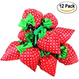 SKL Pack of 12 strawberry Reusable Foldable Shopping ECO Bags with Pouch Shoulder Tote,4 Assorted Colors