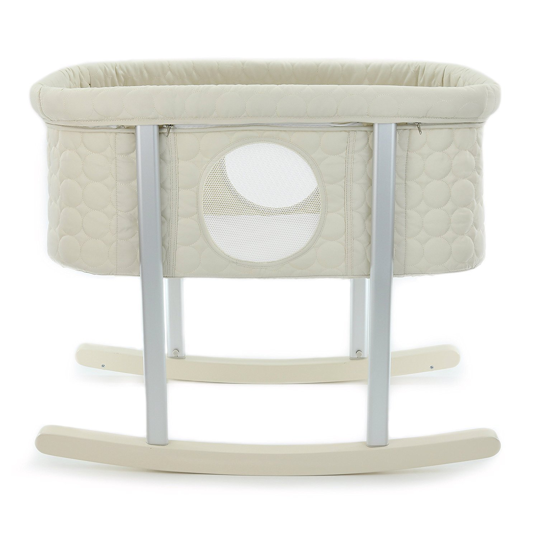 NEW BEST Bassinet/Cradle, Gentle Rocking, Mesh Windows, Infant Safe Mattress, Hidden Wheels for Easy Movement, Washable, Lightweight and Transportable (Sand)
