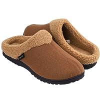 Snug Leaves Men's Cozy Memory Foam Slippers Wool-Like Plush Fleece Lined House Shoes w/Indoor Outdoor Rubber Sole