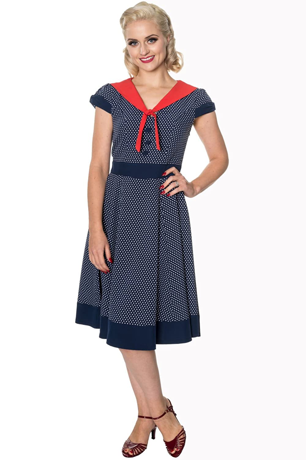 Vintage Cruise Outfits, Vacation Clothing Banned The Insider Retro Vintage Tea Dress - White Black or Navy $50.95 AT vintagedancer.com
