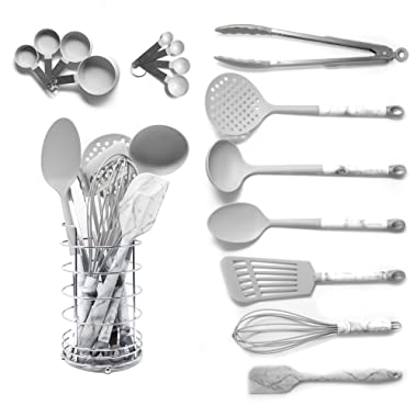 Grey Cooking Utensils With a Modern Look of Marble Utensil Holder Included - Marble Kitchen Accessories. 16-Piece Nylon Cooking Utensils Set with Holder incl. Grey Measuring Spoons and Cups Set