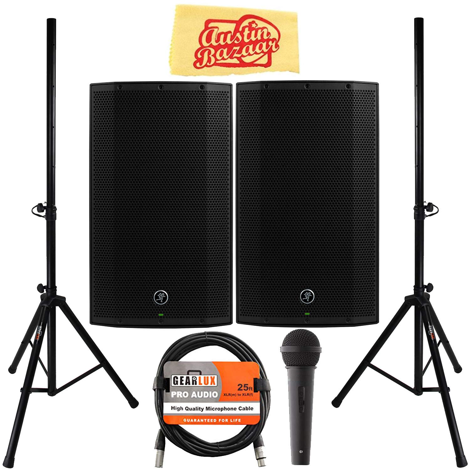 Mackie Thump12A 12'' Powered Loudspeaker Bundle with Pair of Speakers, Stands, Microphone, XLR Cable, and Austin Bazaar Polishing Cloth