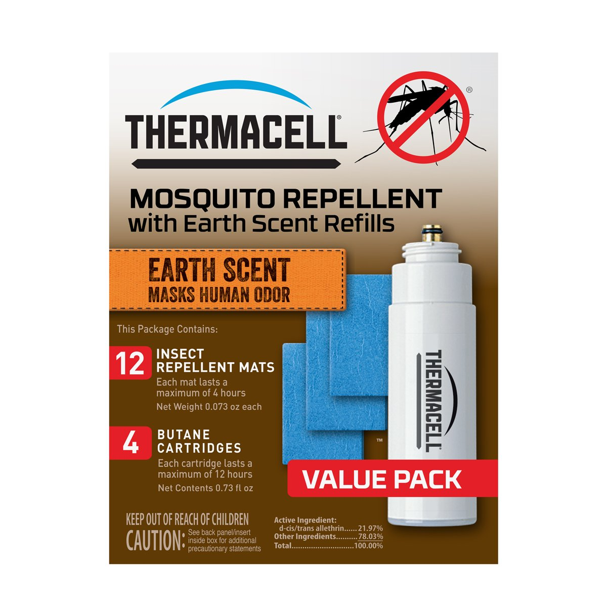 Thermacell E-4 Mosquito Repeller Refill with Earth Scent,48 HourPack (12 Repellent Mats and 4 Fuel Cartridges)