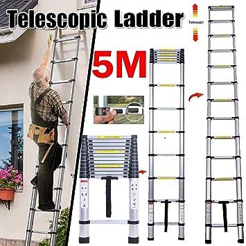 Escalera telescópica de aluminio multiusos, 5 m, fácil de almacenar, para hacer uno mismo: Amazon.es: Bricolaje y herramientas
