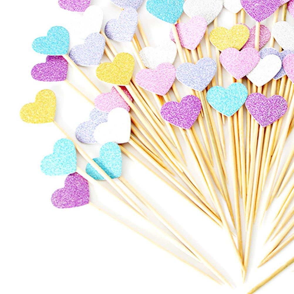 cibo matrimonio e Baby Shower Decor e cupcake Party Picks BESTONZON 50 pezzi oro glitter cuori Toppers