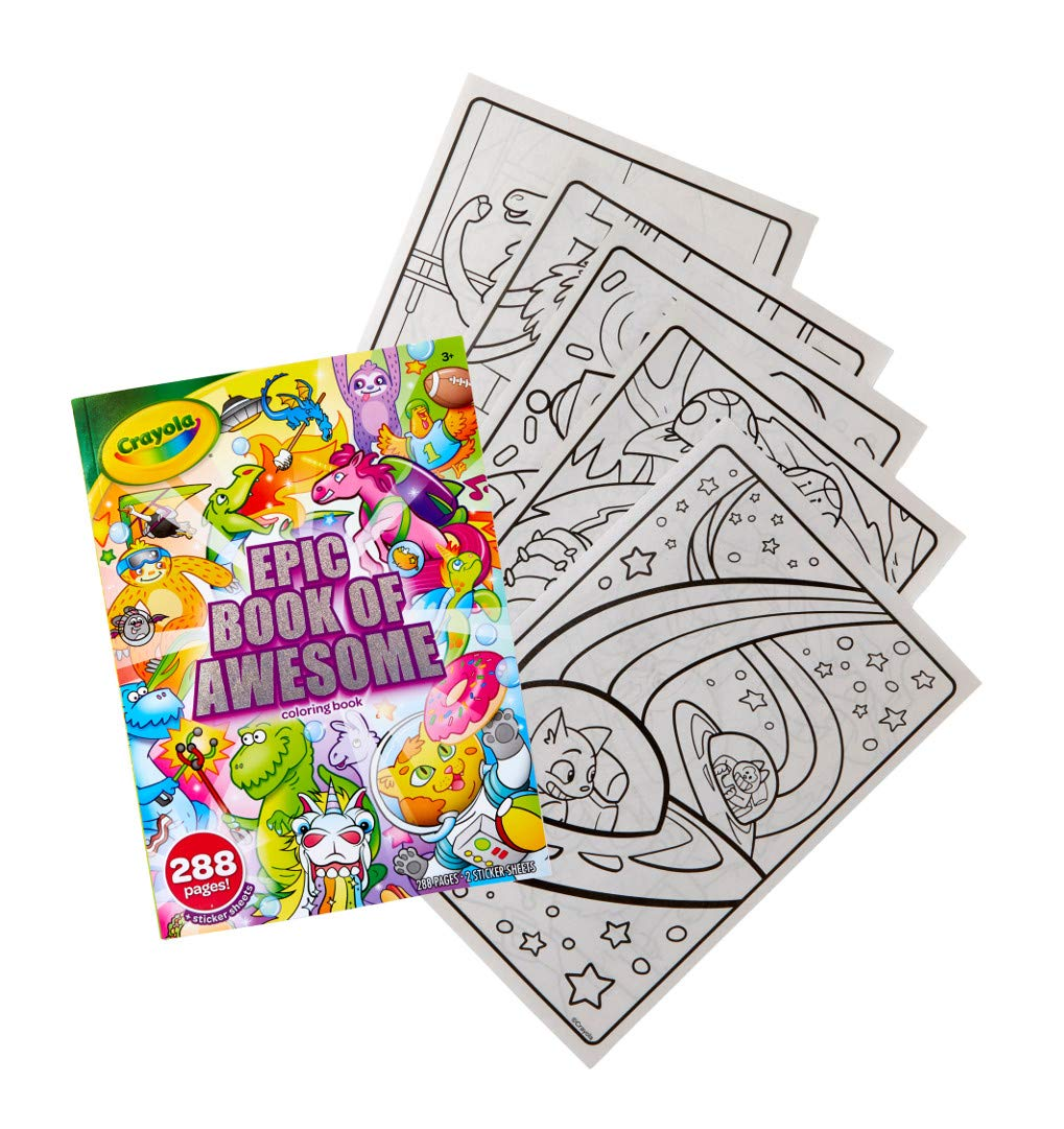 Crayola Epic Book of Awesome, Coloring Book Set, Stocking Stuffers for Girls & Boys, 288 Pages 4