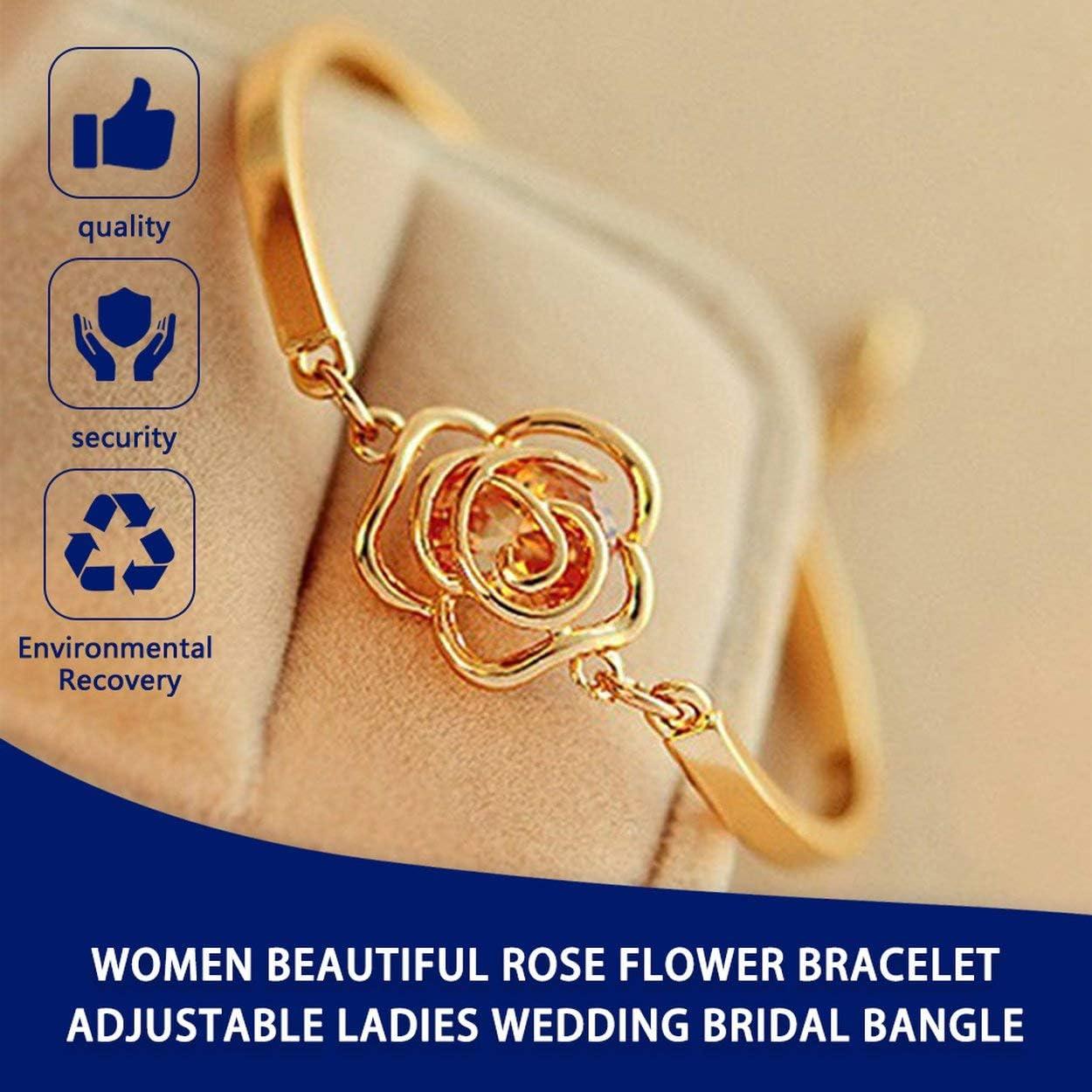 Korean Fashionable Women Beautiful Rose Flower Charm Bracelet Adjustable Ladies Wedding Bridal Bracelet Bangle Jewelry