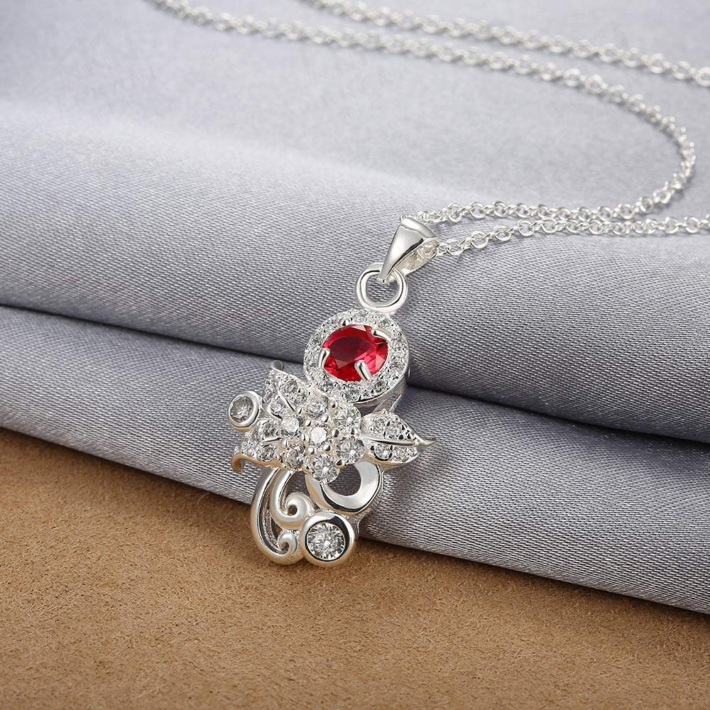 Women Elegant Home Jewelry Fashion Zircon Accessories European and American Accessories Silver Pendant Necklace International (Color : Blue) (Color : Red)