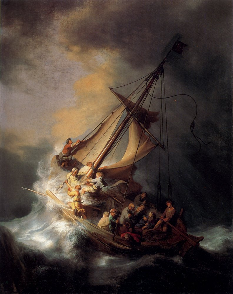 Roya Art-The Storm on the Sea of Galilee by Rembrandt Hand Painted Famous Baroque Paintings Reproductions Oil Painting On Canvas Christian Painting For Wall Decoration, Size 24''wide x 36''high
