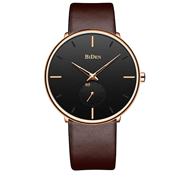 Mens Watches Ultra Thin Minimalist Waterproof Wrist Watch Luxury Business Fashion Casual Simple Dress Classic Analogue Quartz Watches - Brown Gold