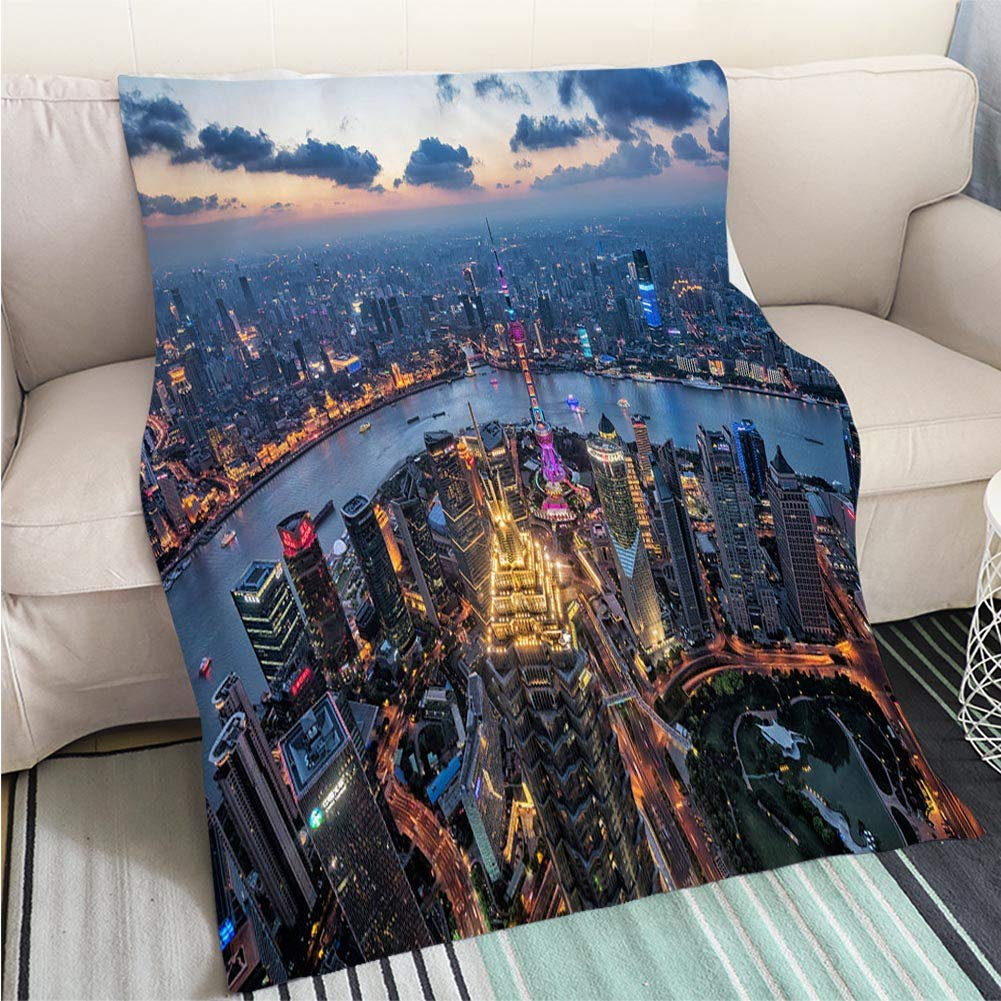 color5 59 x 80in Art Design Photos Cool Quilt Night View of The Bund Shanghai Hypoallergenic Blanket for Bed Couch Chair