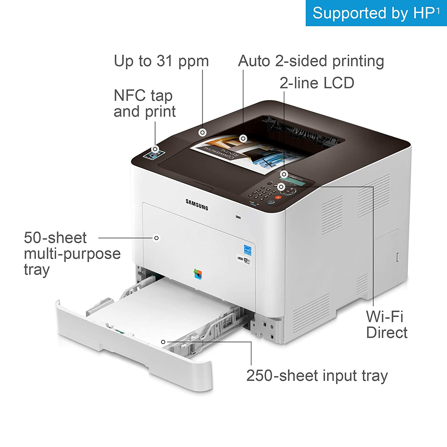 Samsung ProXpress C3010DW Wireless Color Laser Printer with Mobile  Connectivity, Duplex Printing, Print Security & Management Tools, Amazon  Dash