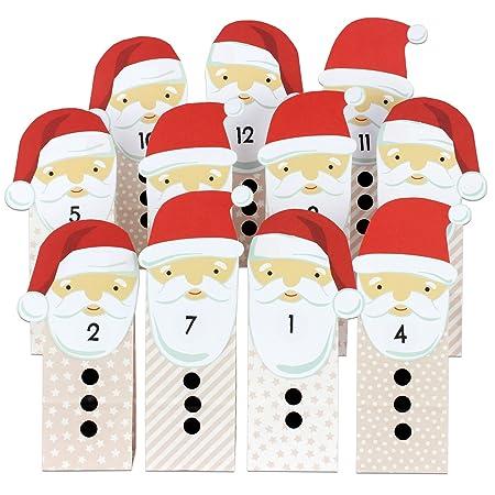 Papierdrachen Diy Adventskalender Weihnachtsmanner Mit Beigen