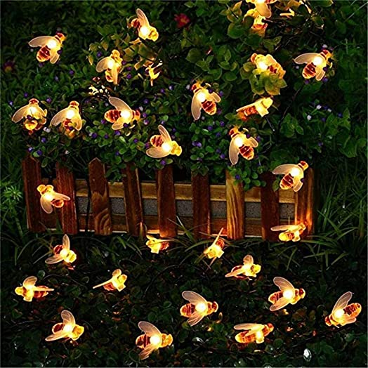 Dirance Solar bee Small Light String 7 m 50 Lights Garden Fence Party Decoration Waterproof