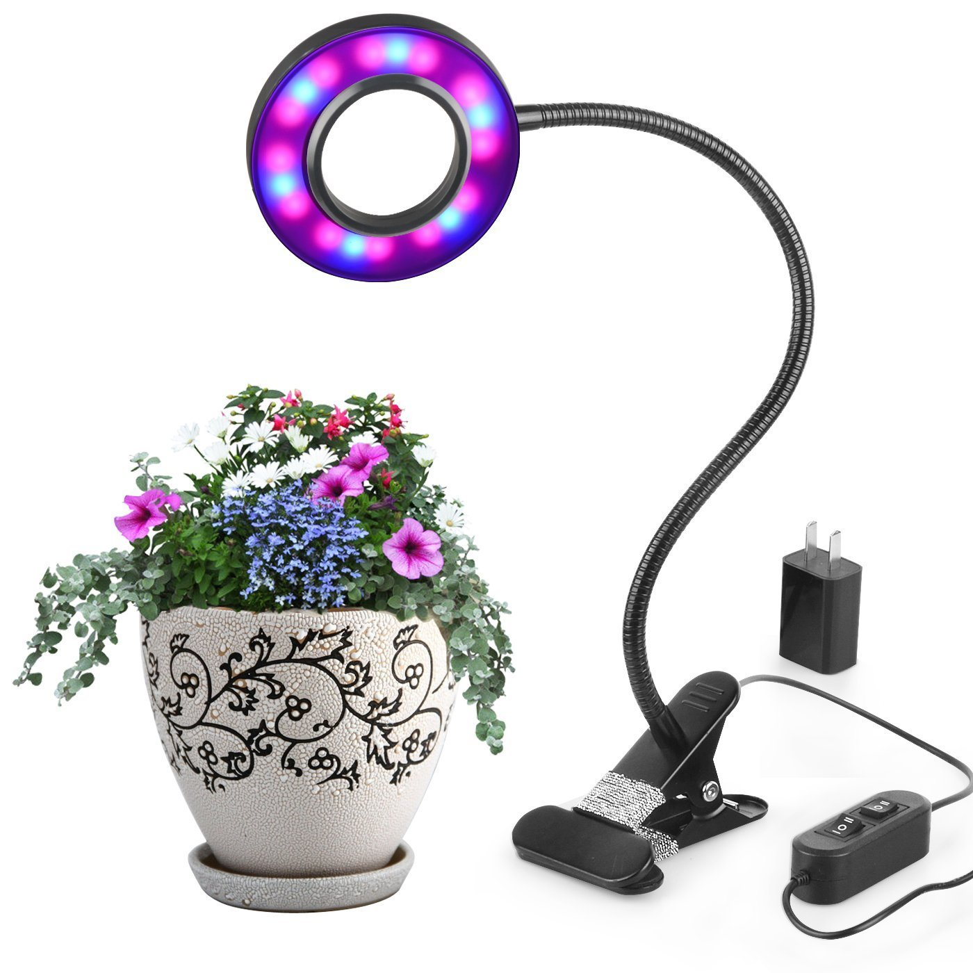 Lanlan LED Plant Grow Light, 10W Adjustable 8 Level Dimmable Clamp Desk Grow Lamp with 360°Flexible Gooseneck for Office Home Indoor Garden Greenhouse Plants