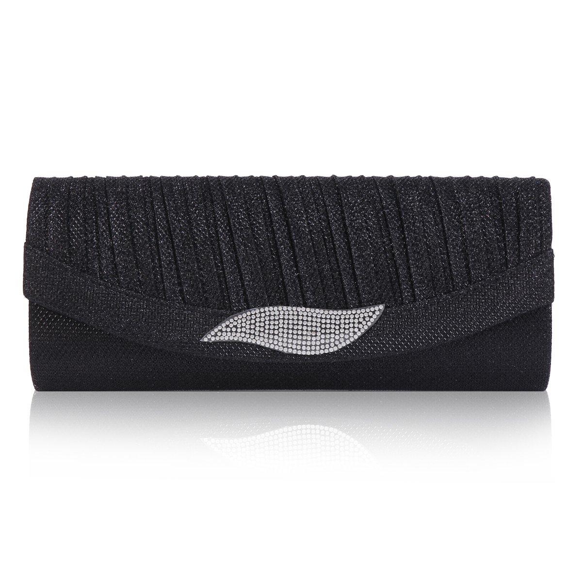 Damara Womens Leaf Dazzling Rhinestone Flap Clasp Clutch Evening Bag,Black