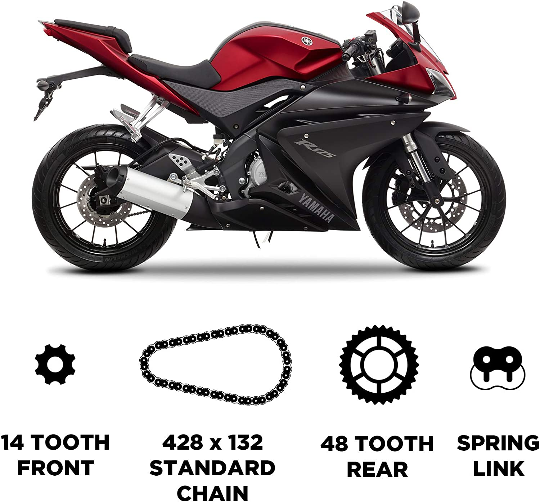 D.I.D Cadena y JT Carbon Steel Sprocket Kit para Yamaha YZF R-125 2008-2016
