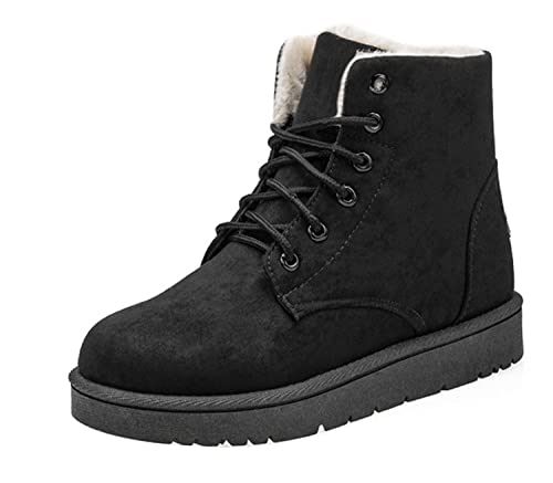 f40feab359 Gaorui Women Winter Warm Lace Up Faux Suede Fur Lining Flat Ankle Snow  Boots Shoe Color