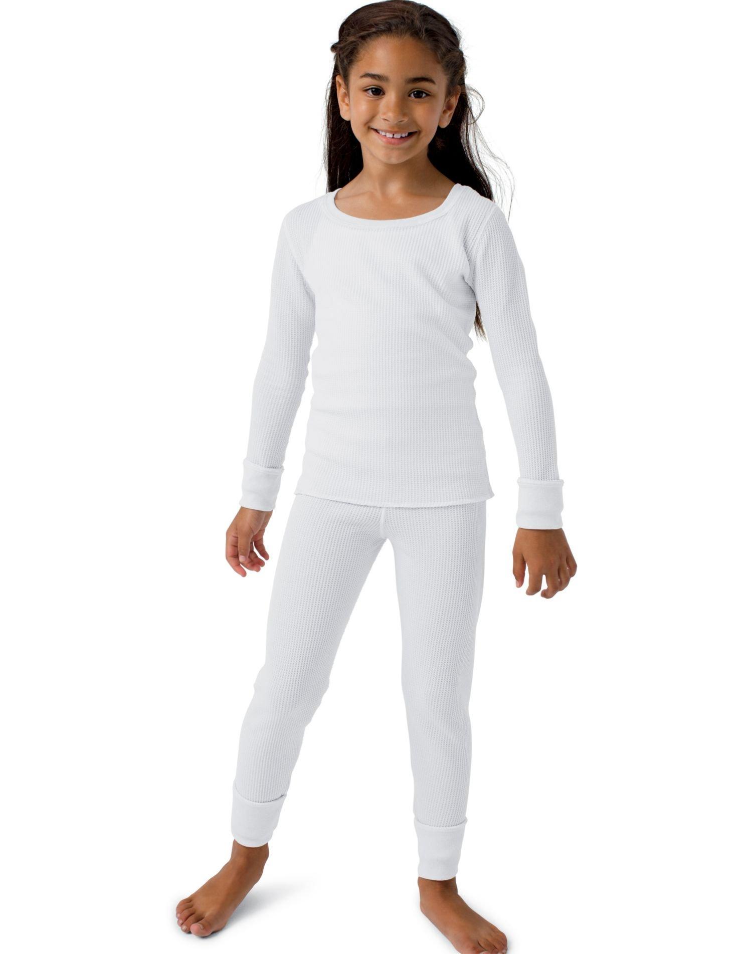 Hanes Girls' X-Temp Thermal Set White M by Hanes (Image #1)