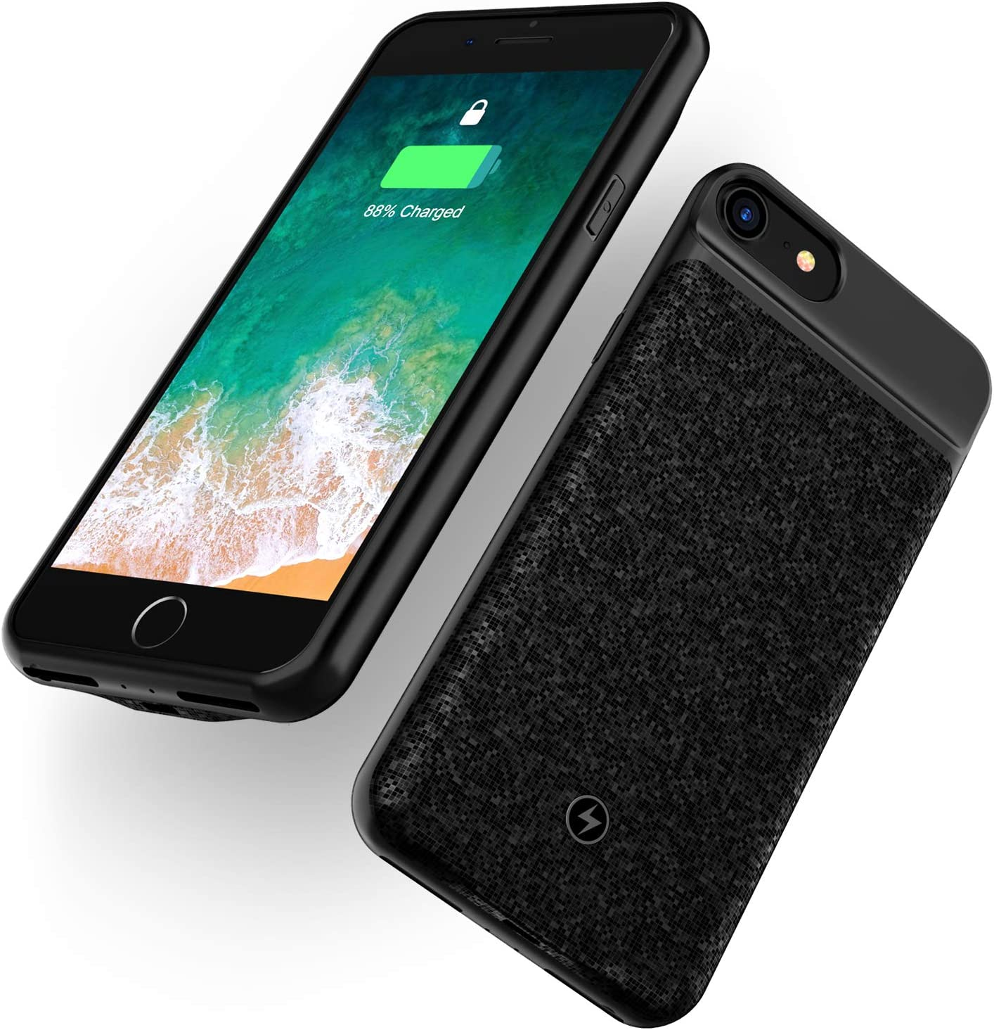 WELUV Wireless Battery Case for iPhone 8 Plus 7 Plus 6s Plus 6 Plus 4000mAh Ultra Slim Rechargeable Cover Support Headphone Qi Mosaic Wireless Charging Backup Extended Protective Shell Black 5.5 inch