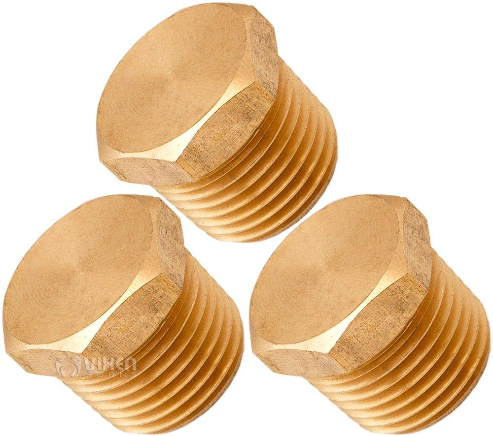 Vixen Horns 3/8' NPT Brass Hex Head Male Plug for Train/Air Horn Tanks VXA7538