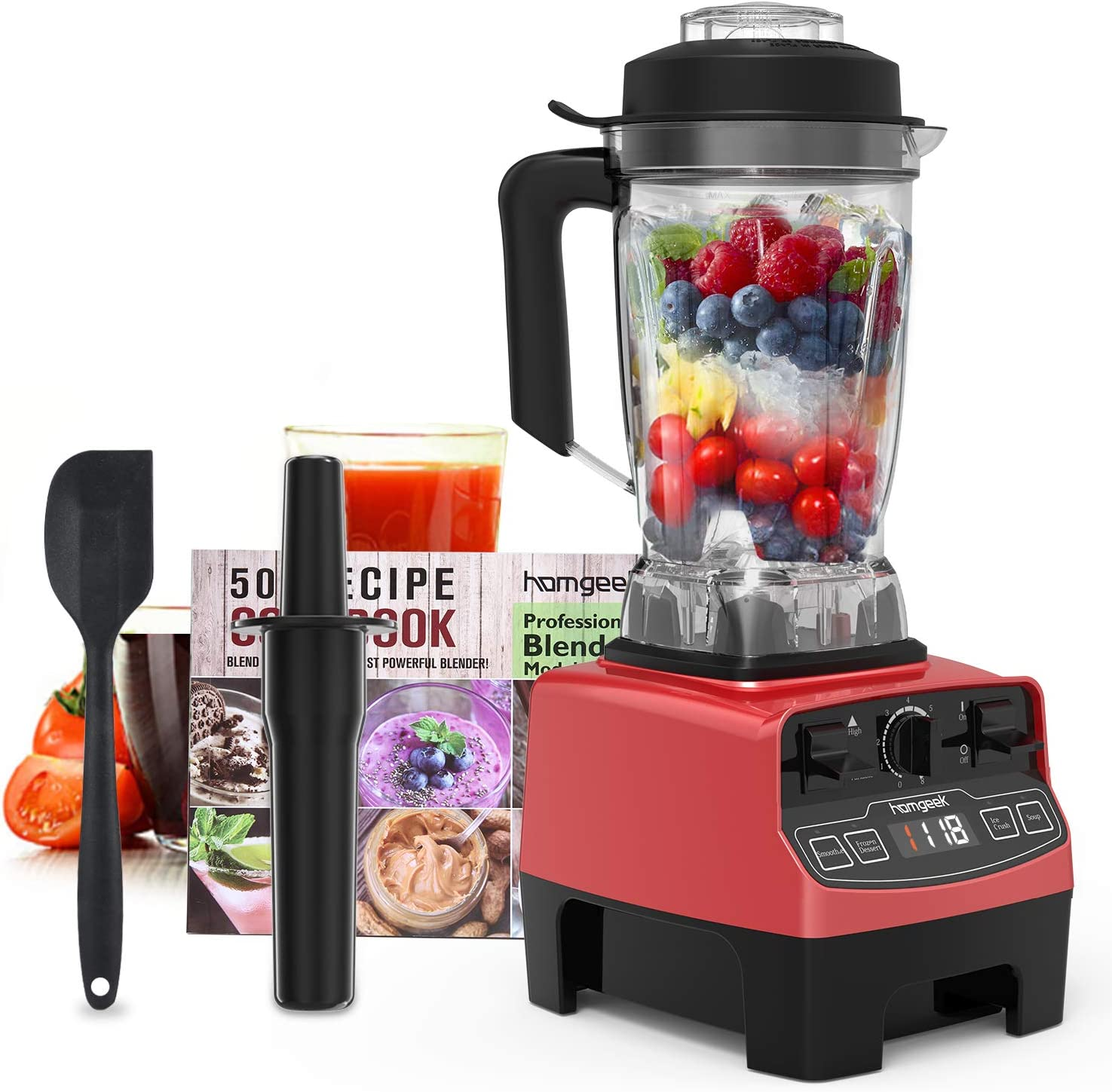 homgeek Countertop Smoothie Blender 1450W, high speed Blender for kitchen with 4 Blending Preset programs, 8 Adjustable Speeds Control and 68 Oz Tritan Pitcher for Shake ,smoothies,soup
