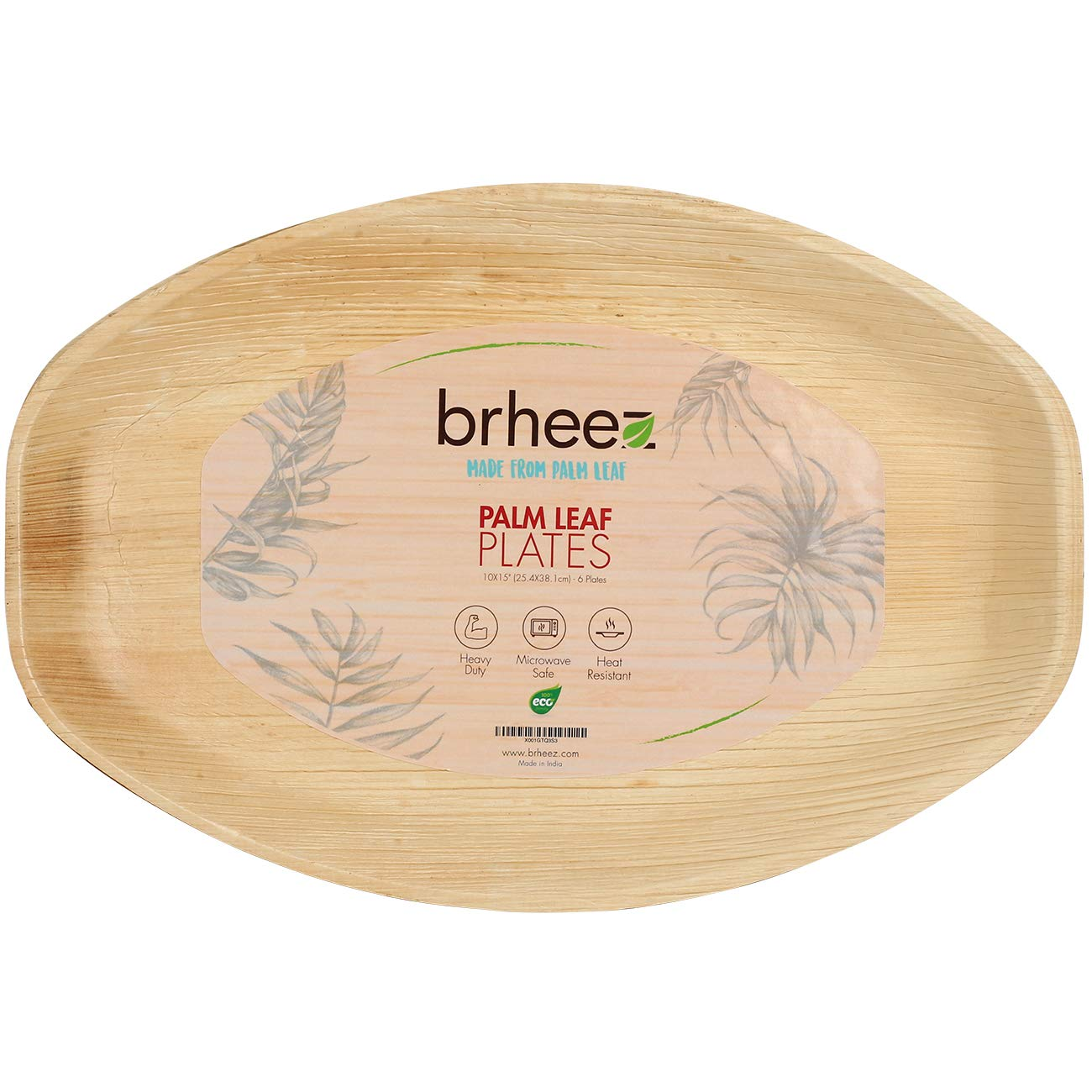 Brheez Palm Leaf Disposable Bamboo Like Oval 15 x 10 Inch -Natural Color - Elegant Sturdy SERVING PLATTER Biodegradable, Compostable Chemical Free, Natural Alternative To Plastic And Paper - Pack of 6