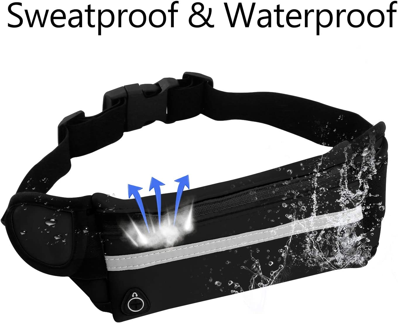 Waterproof Runners Sports Fanny Pack Vetoo Running Belt Waist Pack for Man Women Adjustable Exercise Fitness Pouch Bag Suit for Most of Mobile Phone 2-Pack