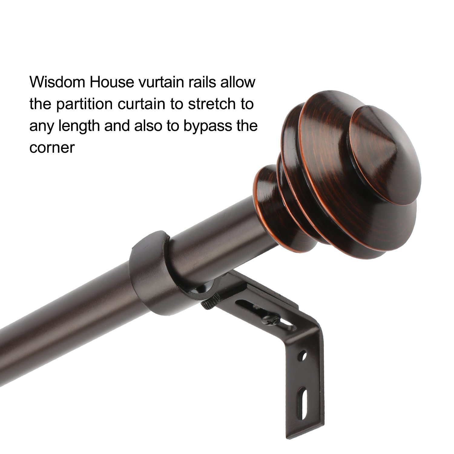 "Wisdom House ILAISIHOME 1"" Curtain Rod Round Finials, 42"
