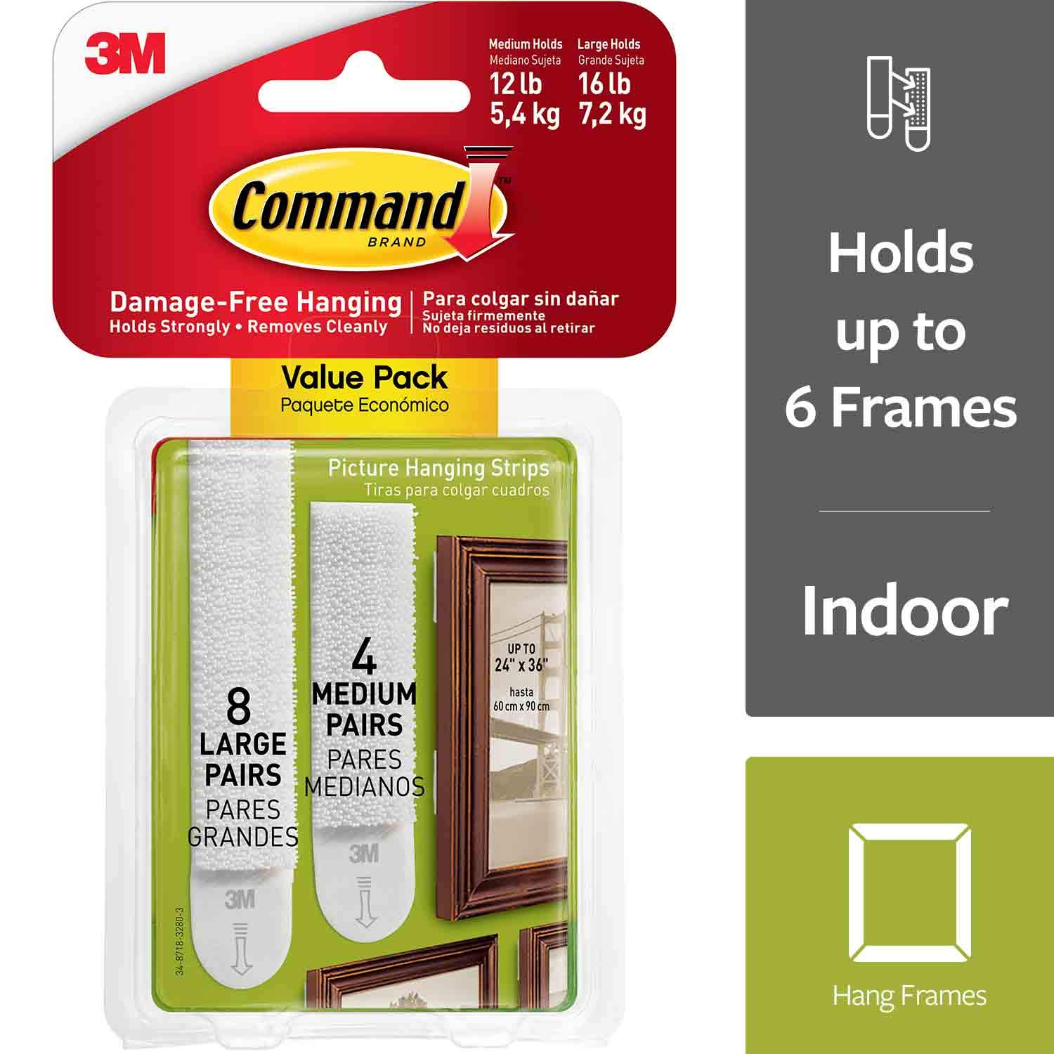 Command Picture Hanging Strips Variety Value Pack, 4-Medium and 8-Large Strips, 4-Pack