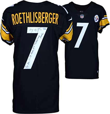 b7abd12ed Ben Roethlisberger Pittsburgh Steelers Autographed Black Nike Elite Jersey  with Multiple Inscriptions - Limited Edition