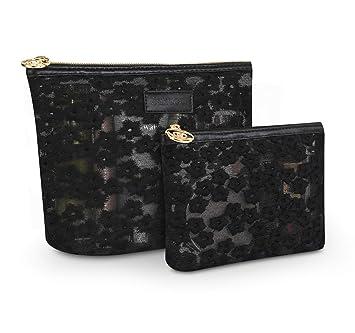 cc7ec480abd6 Zakaco Makeup Bag for Women,Small Cosmetic Bag Pouch Purse Handbag  Organizer with Zipper (Black)