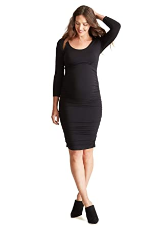 c124369d2c689 Ingrid & Isabel Women's Maternity 3/4 Sleeve Shirred Dress, Jet Black, ...