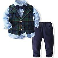 Xiangwu Textitle Baby Boy Vest Set Plaid Suit Shirt Pants Bowtie Gentleman Toddler Clothes Outfit