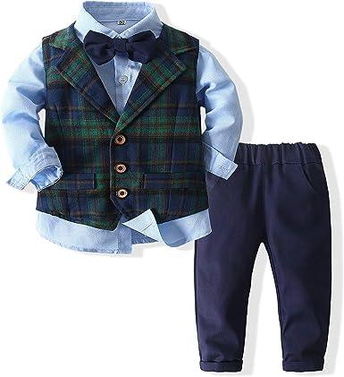 Baby Boys 3Pcs Gentleman Suit Kids Formal Outfits Set Bowtie Long Sleeve Shirt Pants Tuxedo Vest
